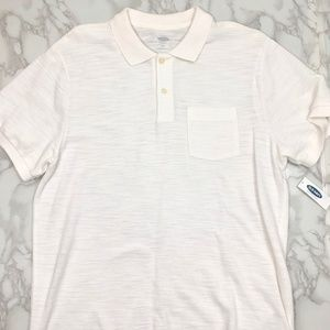 Old Navy Mens Pique Polo Shirt White Large